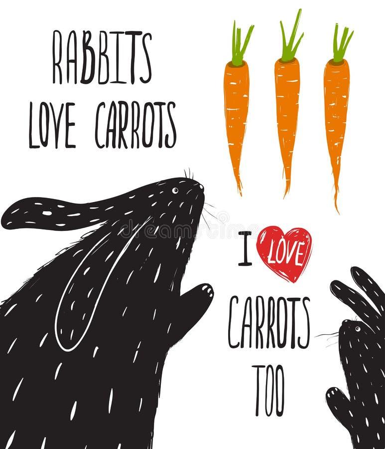 El poner letras estridente de las zanahorias del amor de los conejos stock de ilustración