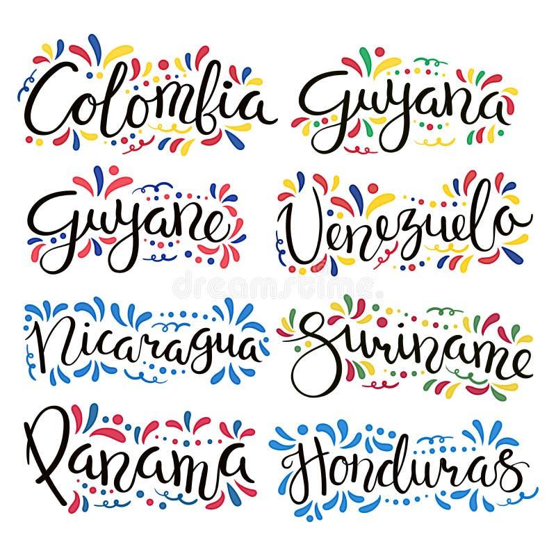 El poner letras latinoamericano de los países stock de ilustración