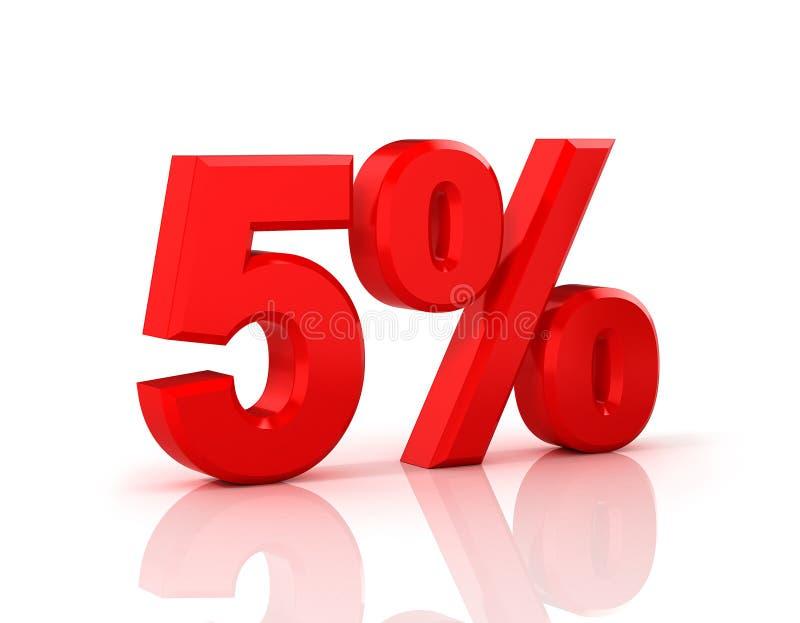 El 5 por ciento apagado Descuento el 5% ilustración 3d en el fondo blanco ilustración del vector