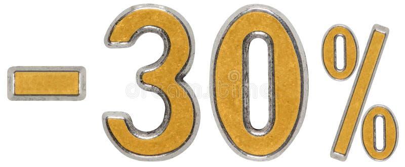 El por ciento apagado descuento Menos 30, treinta, tres, el por ciento Metal foto de archivo