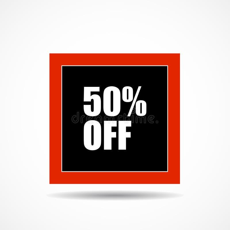 el 50 por ciento apagado Símbolo de la etiqueta de la venta en la forma cuadrada, ventas del márketing de publicidad libre illustration