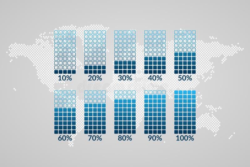 el 10 a 100 por ciento chart0s Símbolos en fondo punteado del mapa del mundo Elementos infographic del vector del porcentaje para stock de ilustración