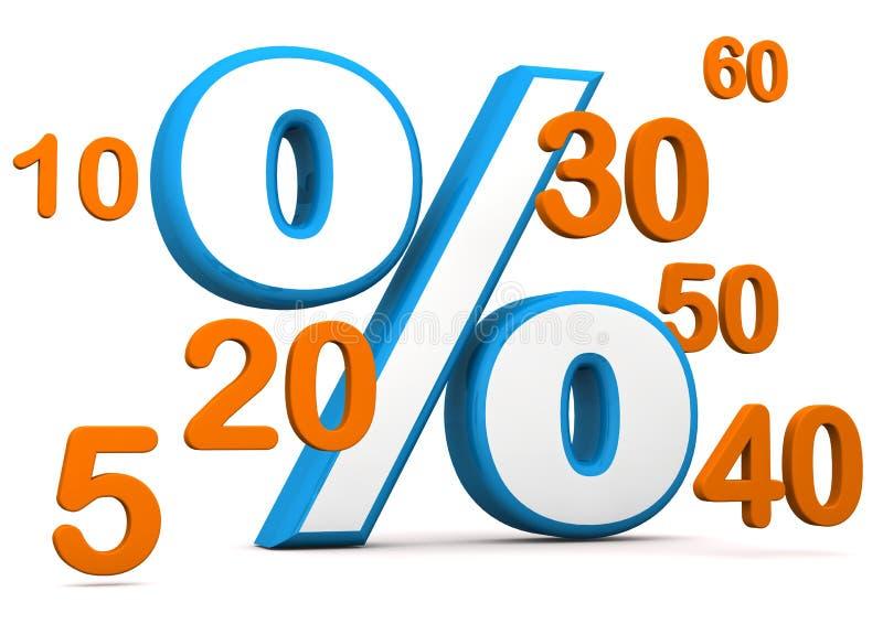 El por ciento con números ilustración del vector