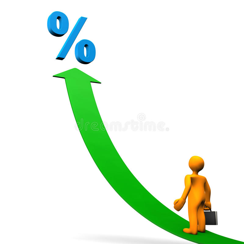 El por ciento de la flecha del maniquí stock de ilustración