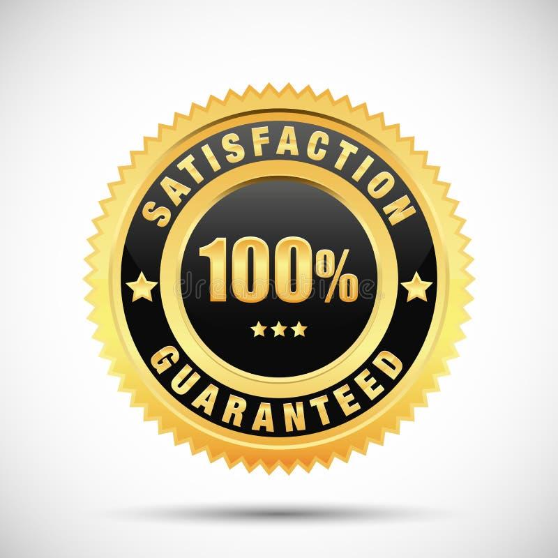 el 100 por ciento de satisfacción garantizó la etiqueta de oro aislada en el fondo blanco ilustración del vector