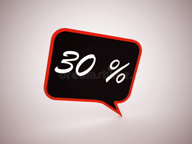el 30 por ciento de texto en burbuja del discurso stock de ilustración