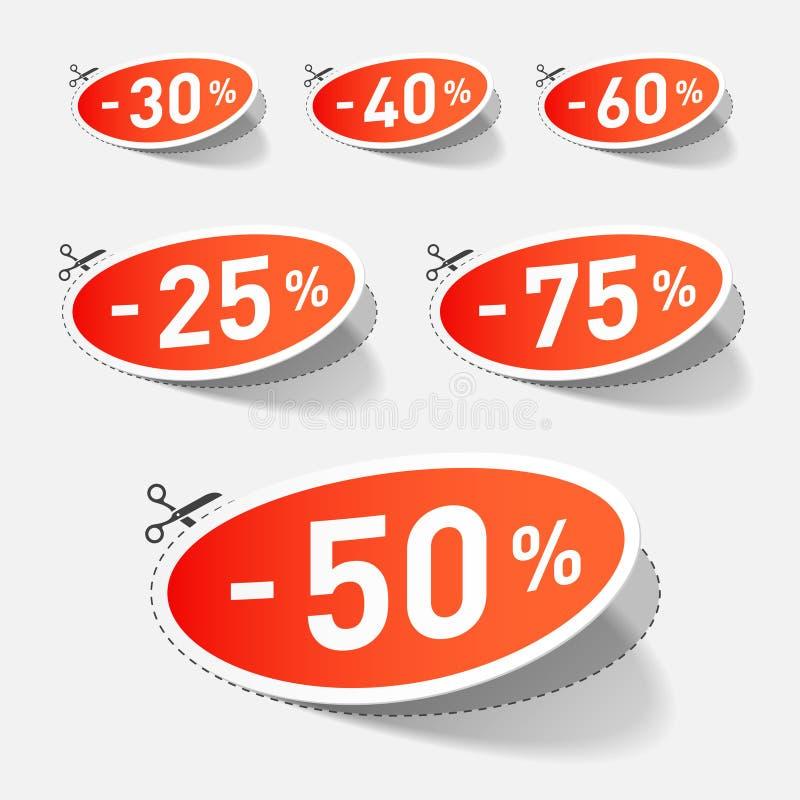 El por ciento del descuento con la línea de corte stock de ilustración