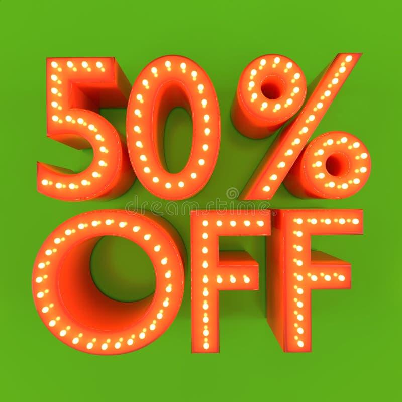 el 50 por ciento del ejemplo anaranjado del verde 3D del descuento de la oferta de la venta libre illustration