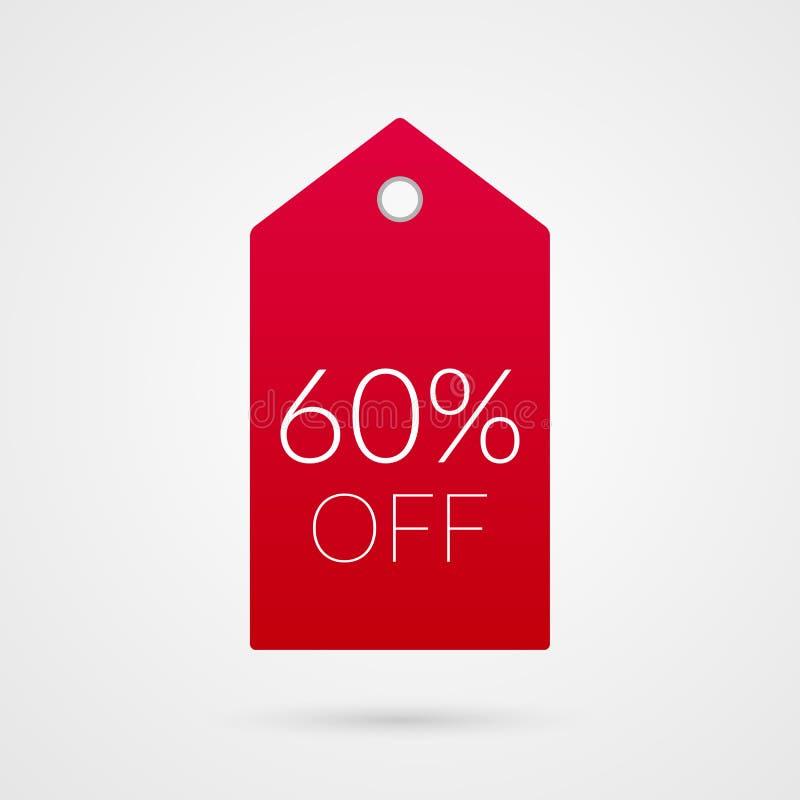 el 60 por ciento del icono del vector de la etiqueta de las compras Muestra del ejemplo para la venta ilustración del vector