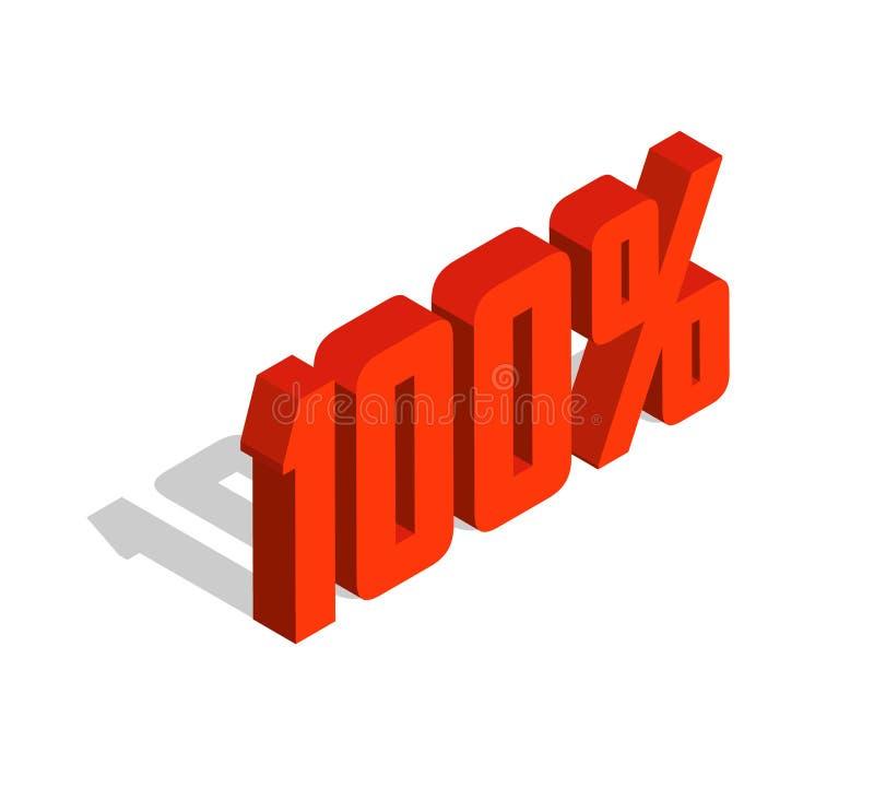 el por ciento del 100%, objeto isométrico 3D Muestra de la venta, calidad, original, garantía, natural libre illustration