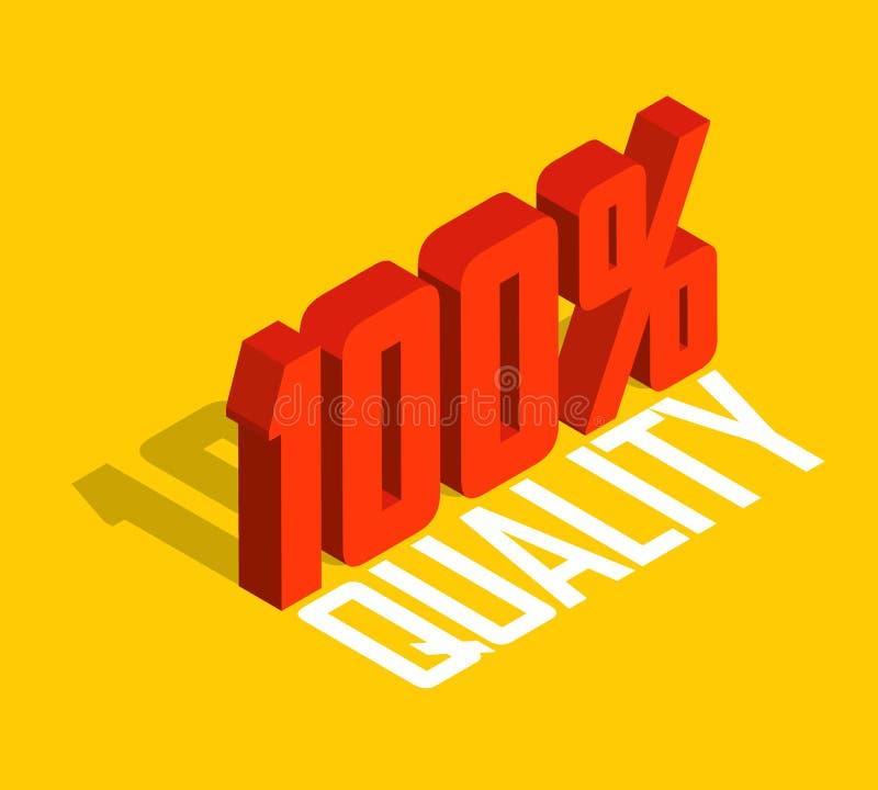 el por ciento del 100%, objeto isométrico 3D Muestra de la venta, calidad, original, garantía, natural stock de ilustración