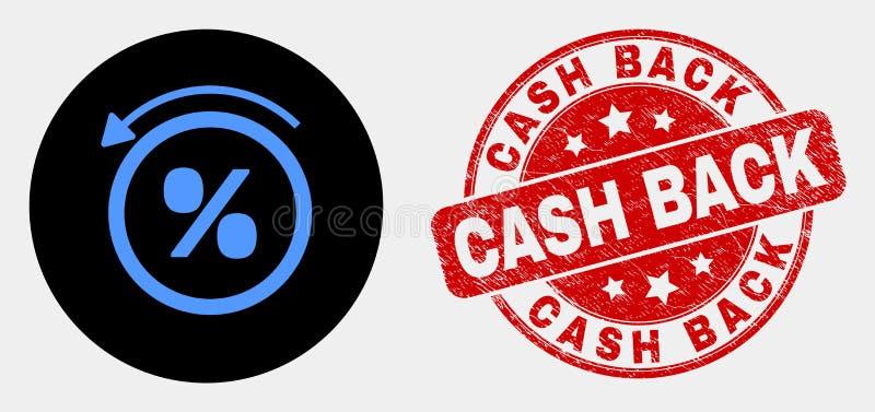 El por ciento del vector apoya el sello de la devolución de efectivo del icono y del Grunge stock de ilustración