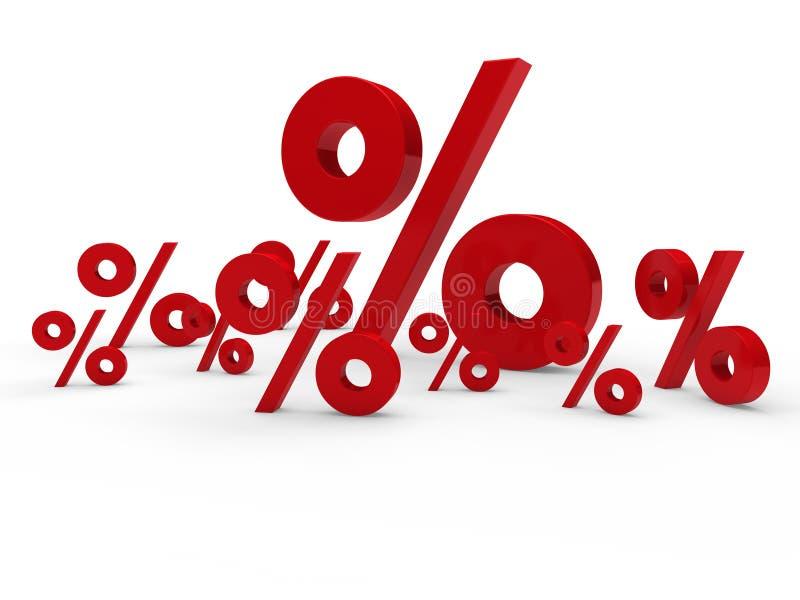 el por ciento rojo de la venta 3d ilustración del vector