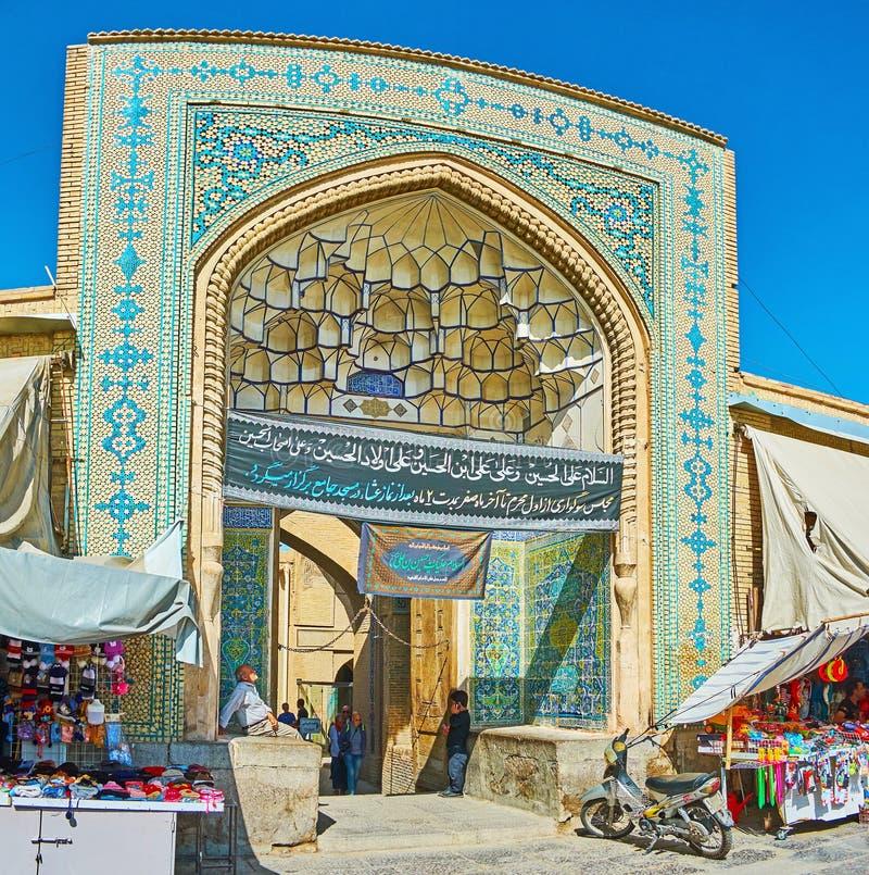 El portal de la entrada de la mezquita de Jameh, Isfahán, Irán imagen de archivo libre de regalías