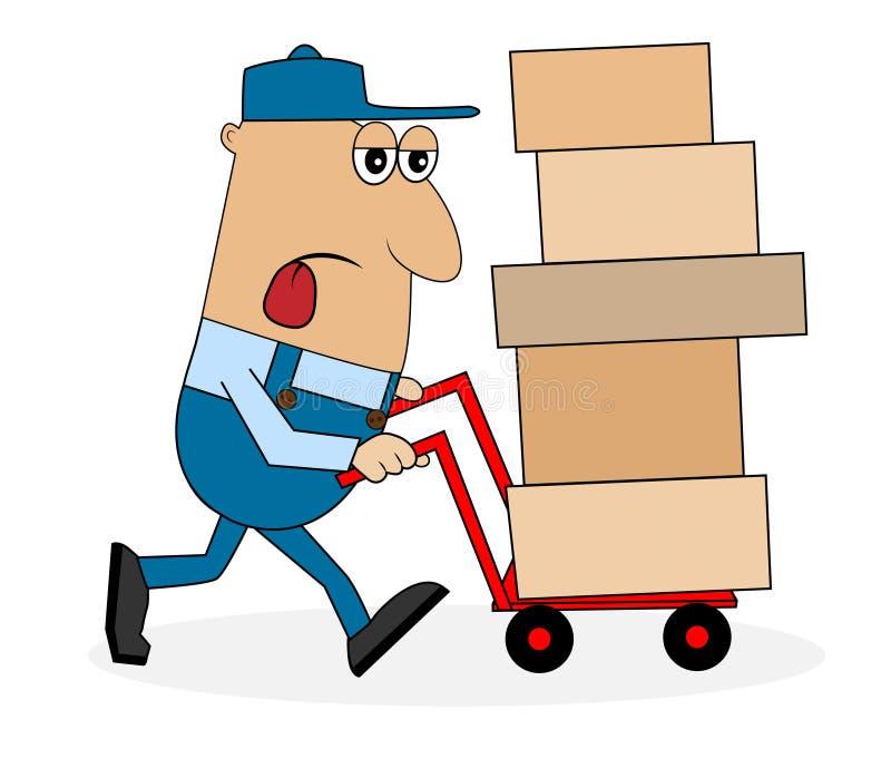 El portero cansado del hombre lleva una caja en la carretilla ilustración del vector