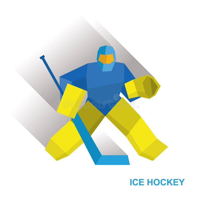 El portero de la historieta con el palillo de hockey coge el duende malicioso ilustración del vector