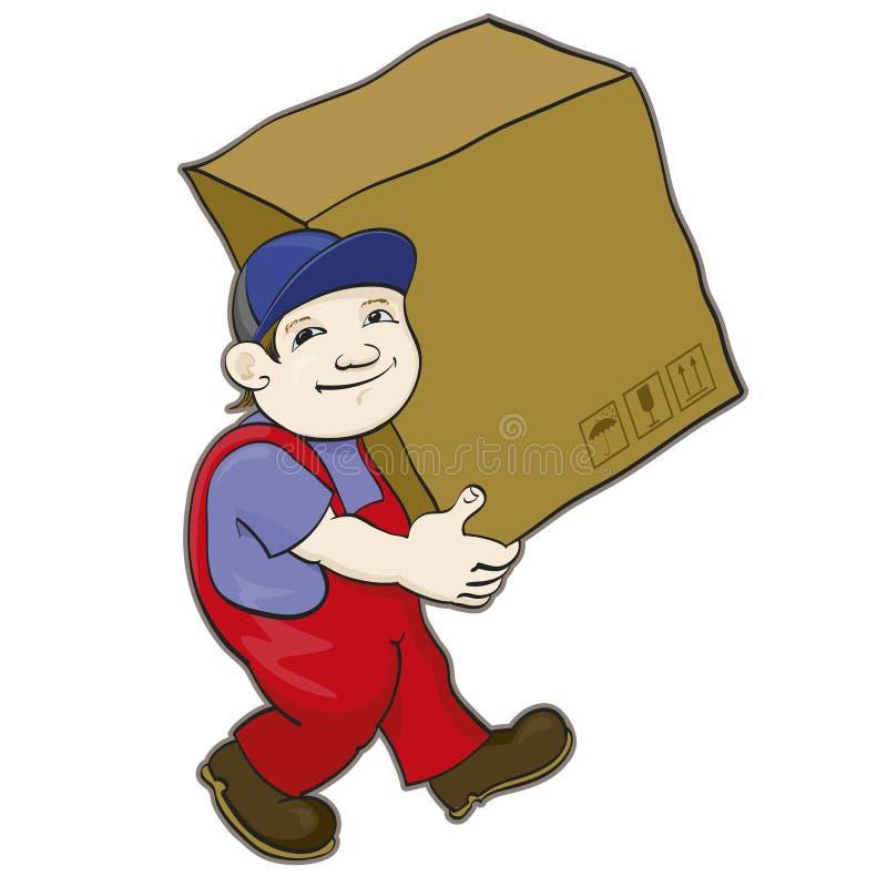 El portero lleva una caja ilustración del vector