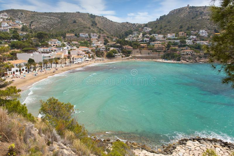 El Portet Spain Costa Blanca near Moraira, beautiful beach and bay. With turquoise blue clear sea stock image