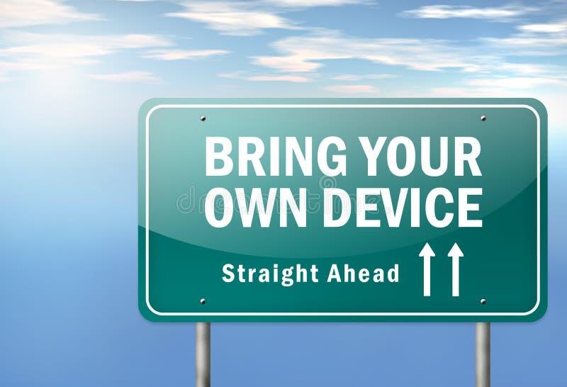 El poste indicador BYOD de la carretera - traiga su propio dispositivo ilustración del vector