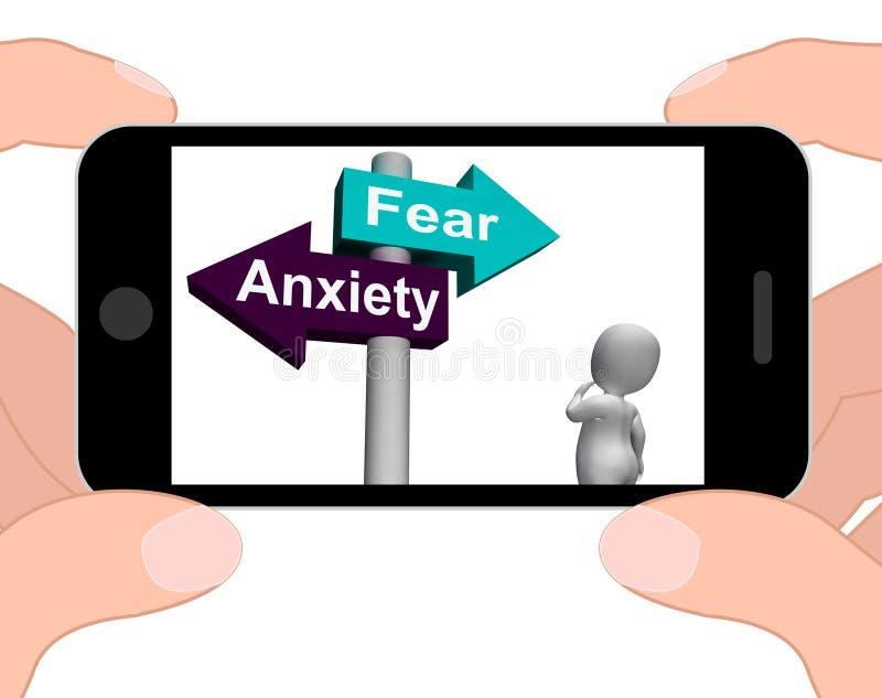 El poste indicador de la ansiedad del miedo exhibe miedos y pánico stock de ilustración