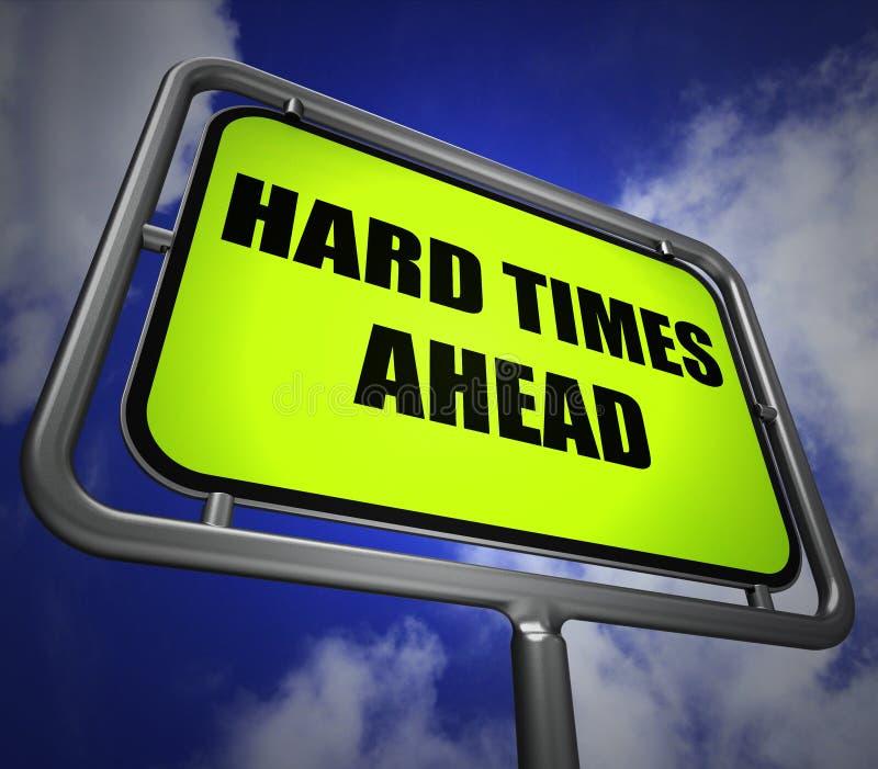 El poste indicador de las dificultades a continuación significa dificultad y dificultades duras libre illustration