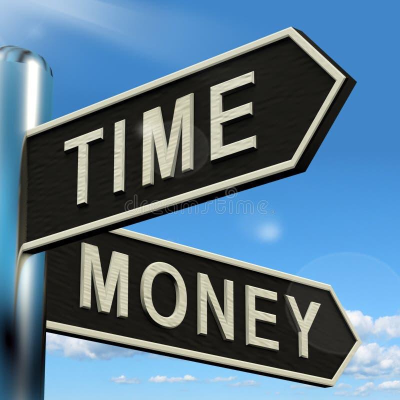 El poste indicador del dinero del tiempo que muestra horas es más importante que riqueza ilustración del vector