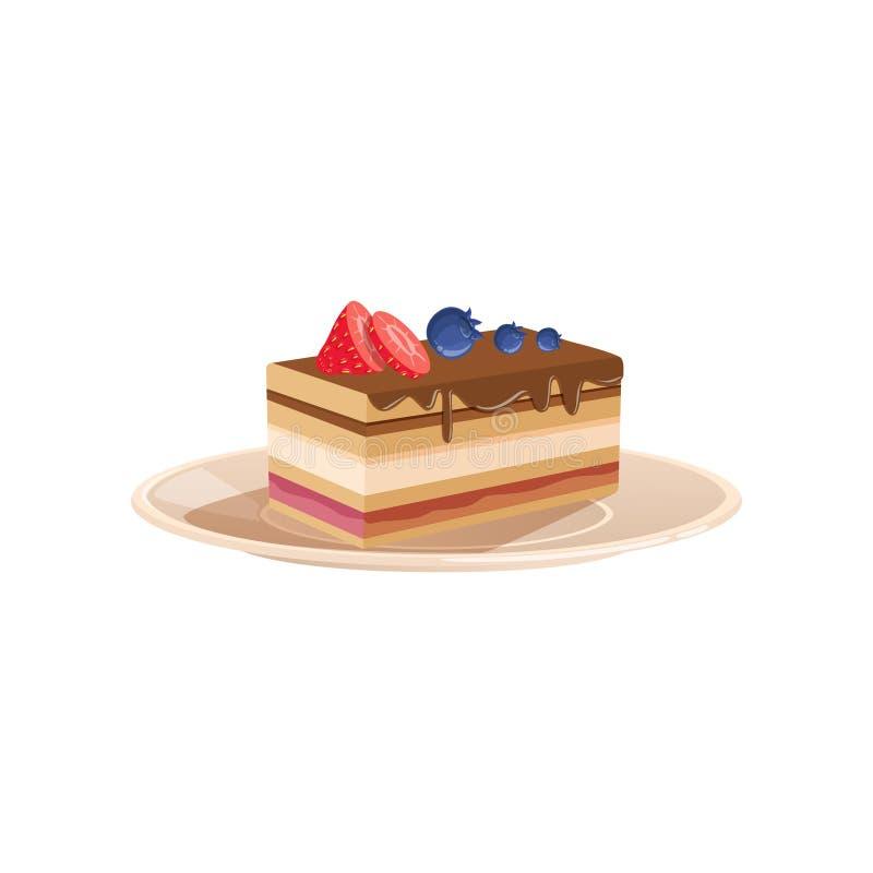 El postre acodado delicioso lloviznó con el chocolate, adornado con la fresa y el arándano Comida cocida dulce plano stock de ilustración