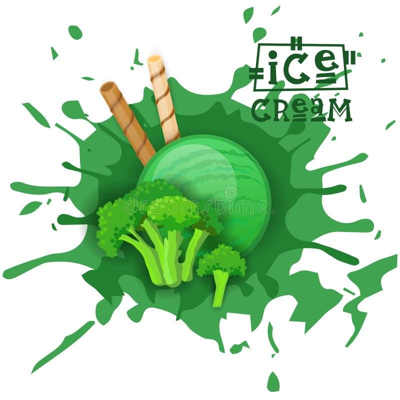 El postre de la bola del bróculi del helado elige su cartel del café del gusto stock de ilustración