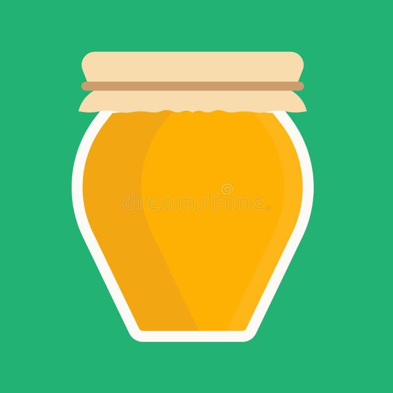 El postre dulce de la comida del tarro de la miel de la abeja del icono de cristal del vector aisló blanco Remedio de oro orgánic stock de ilustración