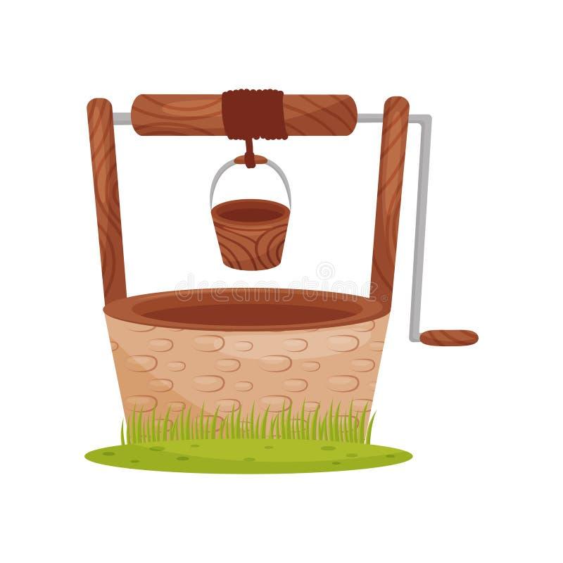 El pozo de agua de piedra viejo, cubo de madera cuelga en cuerda Elemento para el paisaje rural Tema de la granja Diseño plano de libre illustration