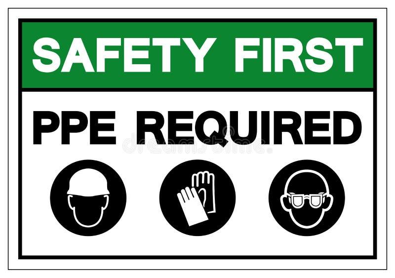 El PPE de la seguridad primero requirió la muestra del símbolo, ejemplo del vector, aislado en la etiqueta blanca del fondo EPS10 stock de ilustración