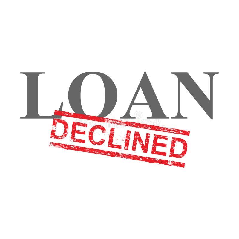 El préstamo disminuyó el sello de la palabra libre illustration