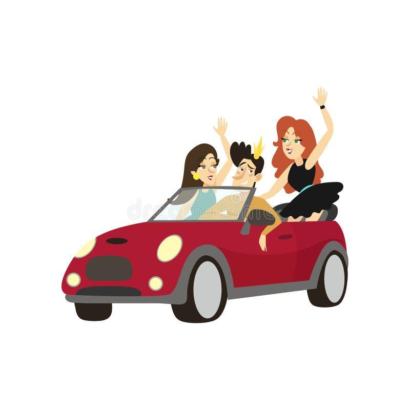 El príncipe moderno que conduce el coche del cabriolé, los amigos felices en una historieta de los caracteres cómicos del coche v ilustración del vector