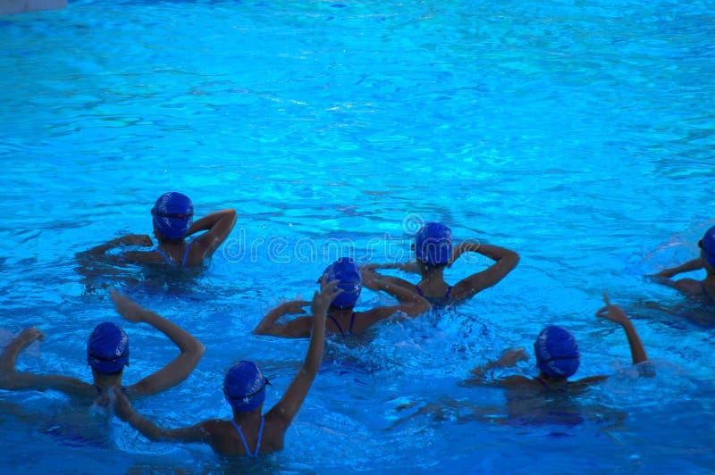 El practicar sincronizado del equipo de natación imagenes de archivo