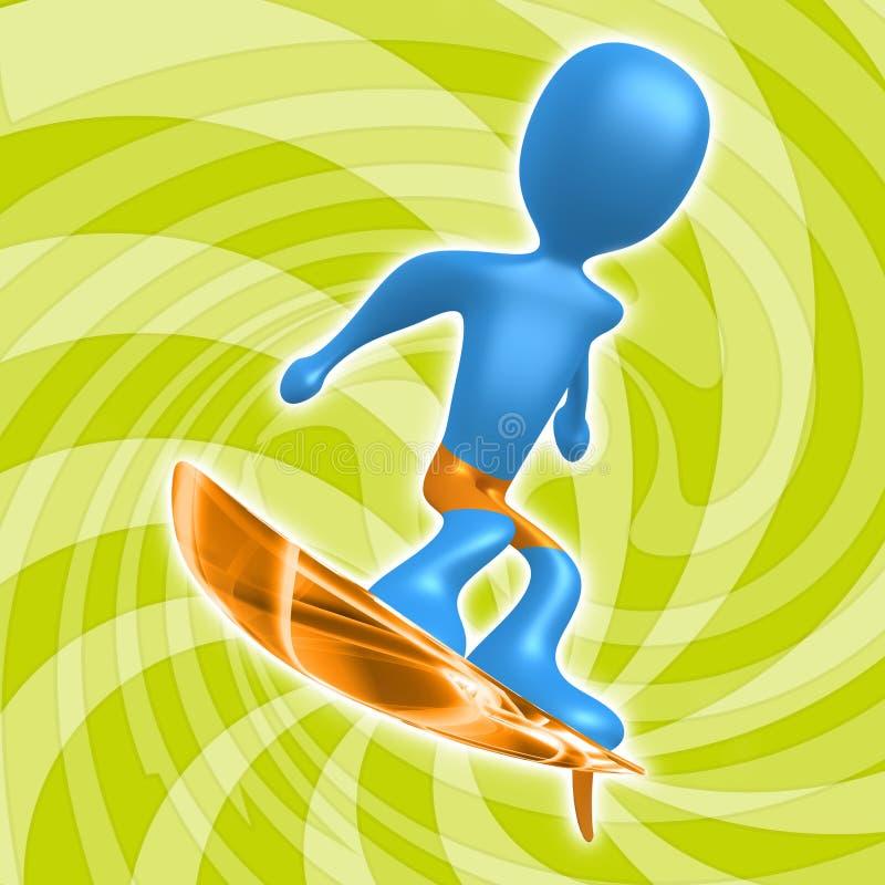 El practicar surf ilustración del vector