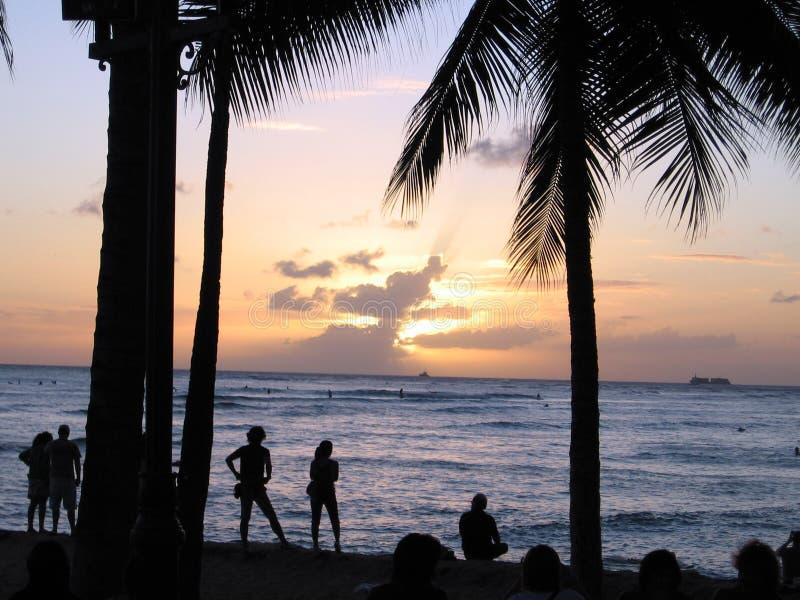 El practicar surf de la puesta del sol fotografía de archivo