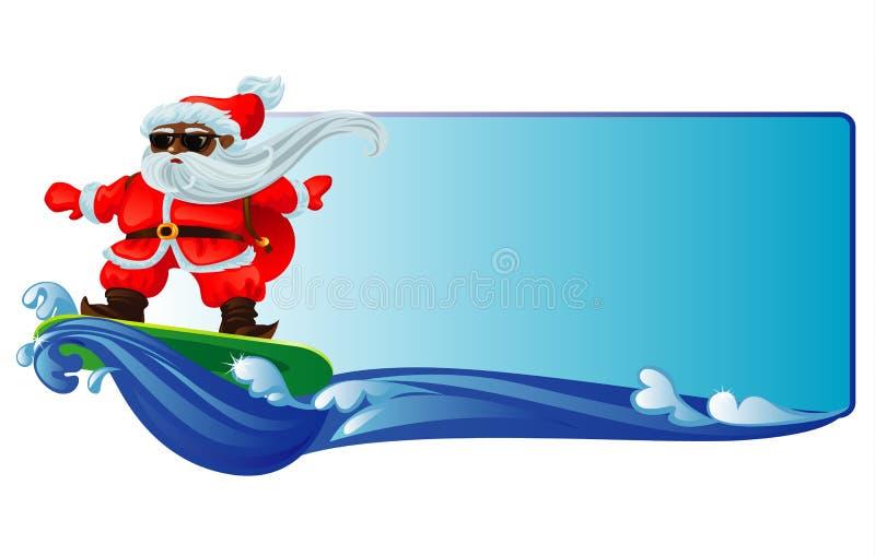 El practicar surf de Papá Noel imágenes de archivo libres de regalías