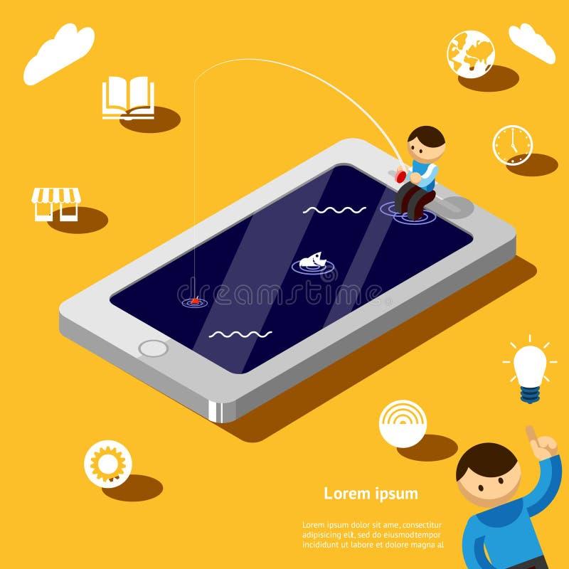 El practicar surf del Web ilustración del vector