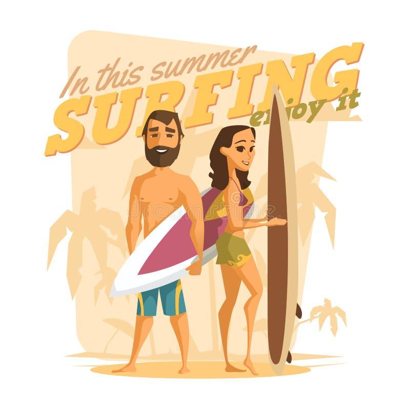 El practicar surf en este verano Goce de él stock de ilustración