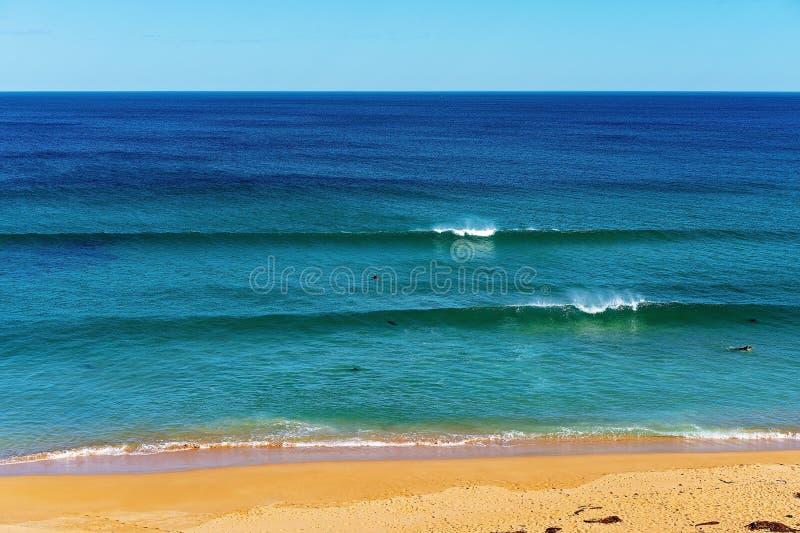 El practicar surf en la playa Australia de Logan foto de archivo