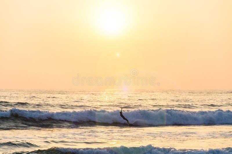 El practicar surf en la puesta del sol Onda del montar a caballo del hombre joven en la puesta del sol foto de archivo