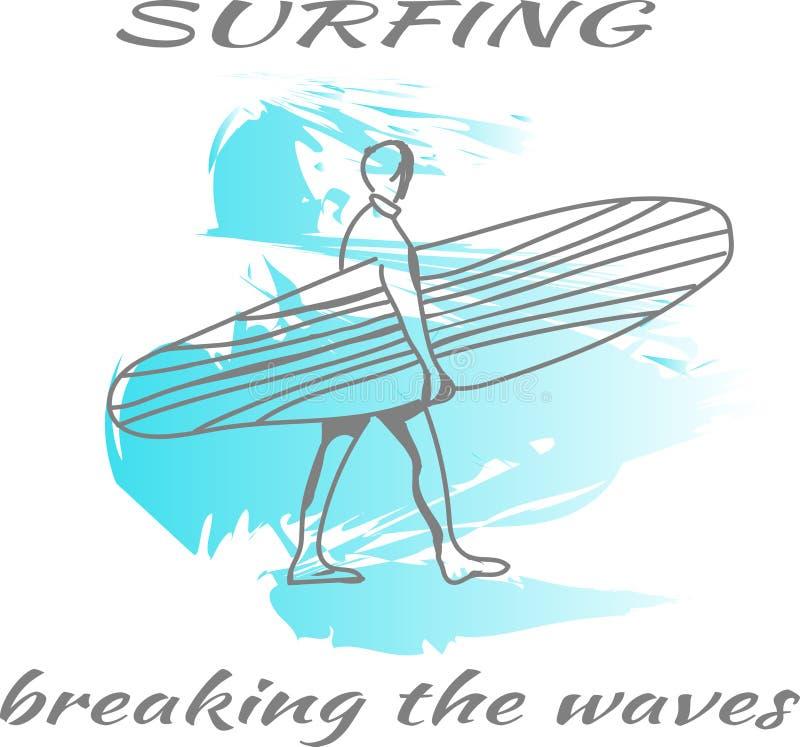 El practicar surf Fractura de las ondas Concepto del verano libre illustration