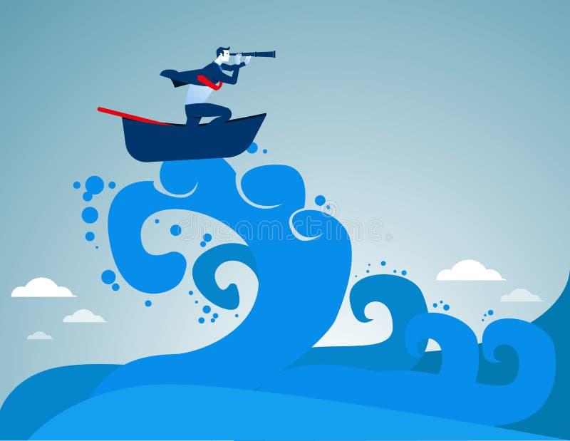 El practicar surf Hombre de negocios que mira éxito en medio de las ondas ilustración del vector