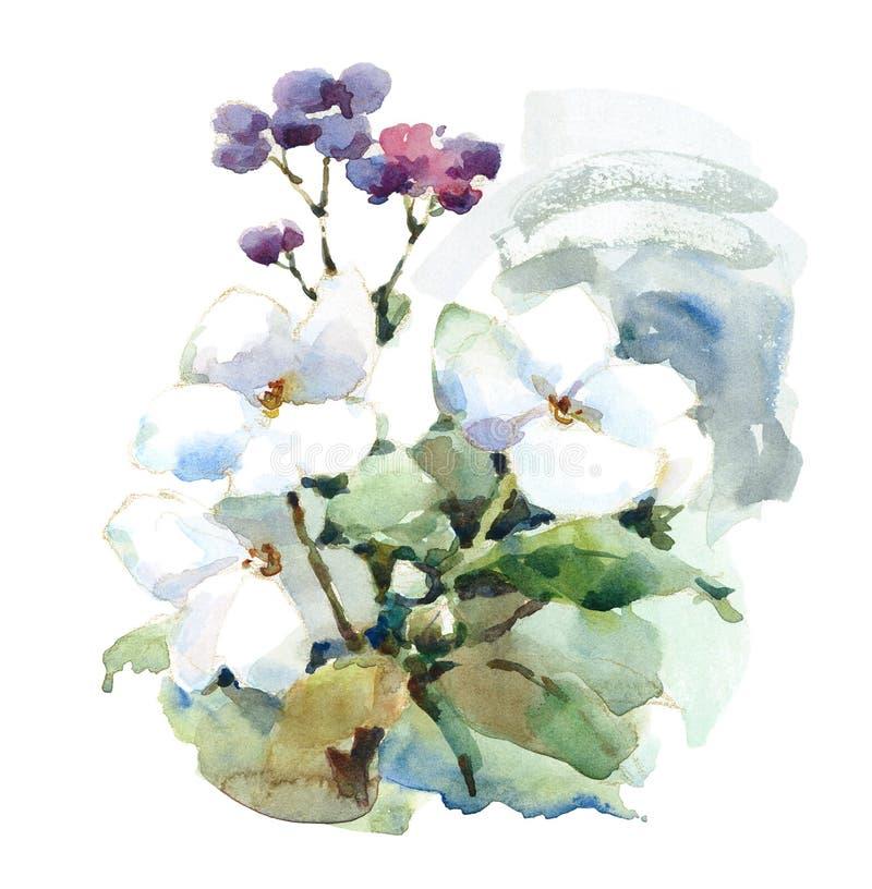 El prado blanco y púrpura de la acuarela florece el ejemplo pintado a mano ilustración del vector