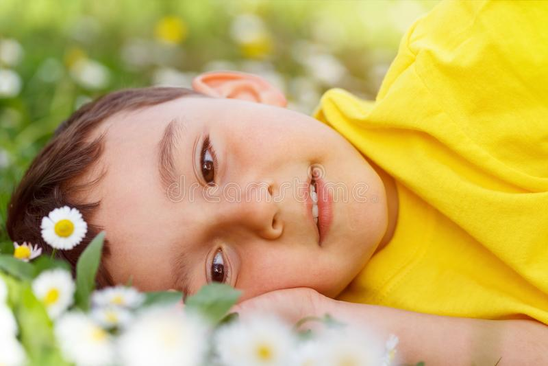 El prado de la flor de la primavera del niño del niño florece el día del niño pequeño que sueña o imagenes de archivo