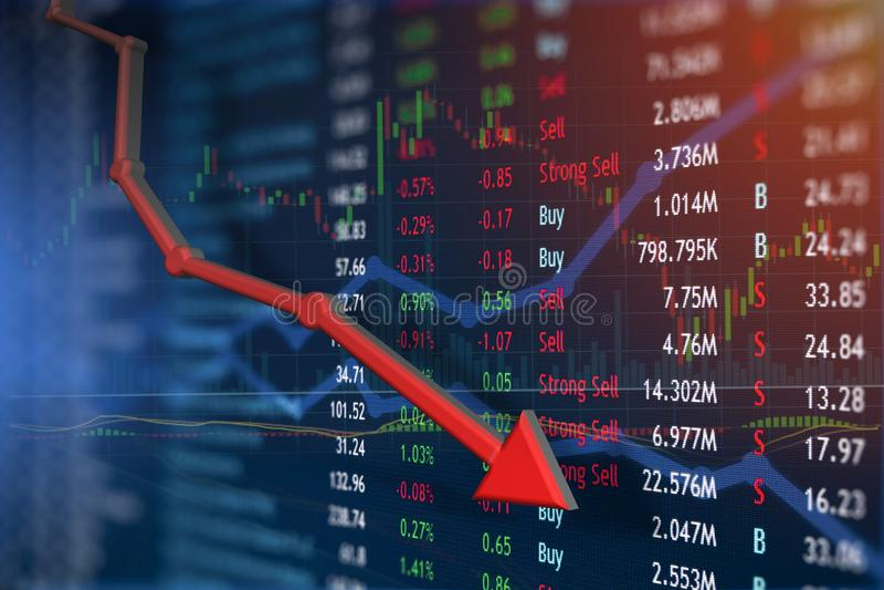 El precio de las acciones cae en picado con noticias negativas libre illustration