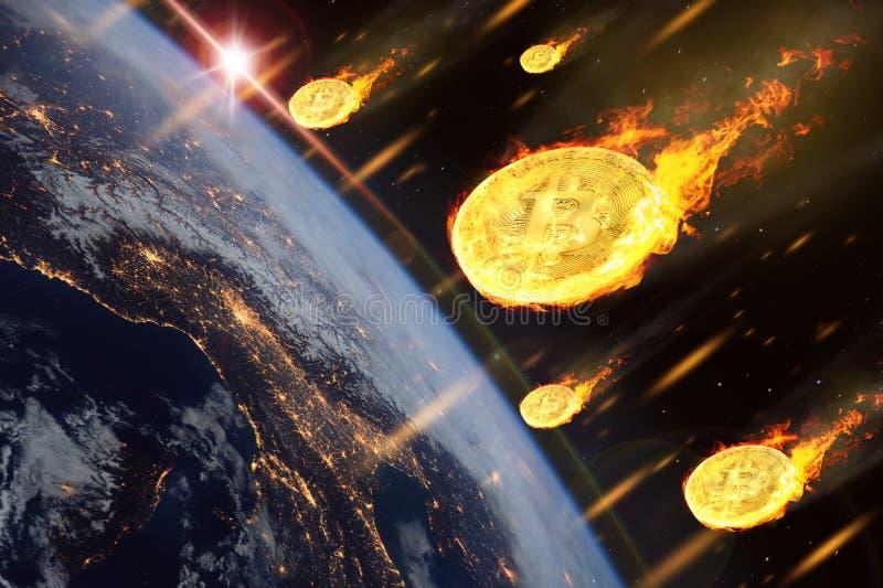 El precio de las monedas del bitcoin o del cryptocurrency está bajando como el en ilustración del vector