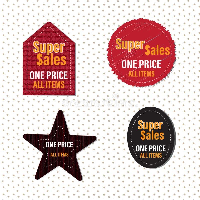 El precio rojo de la etiqueta una toda la promoción de los artículos fijó diversas texturas ilustración del vector