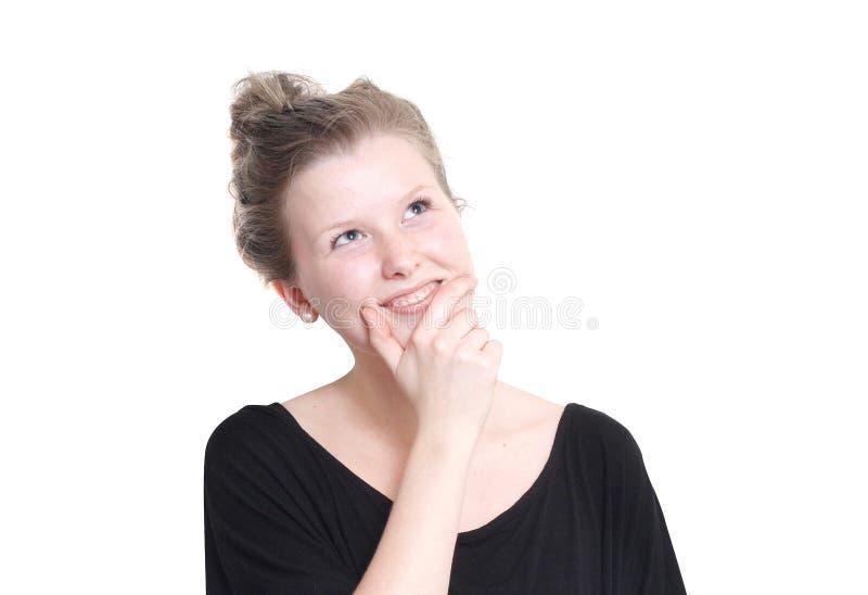 El preguntarse de la chica joven imagen de archivo
