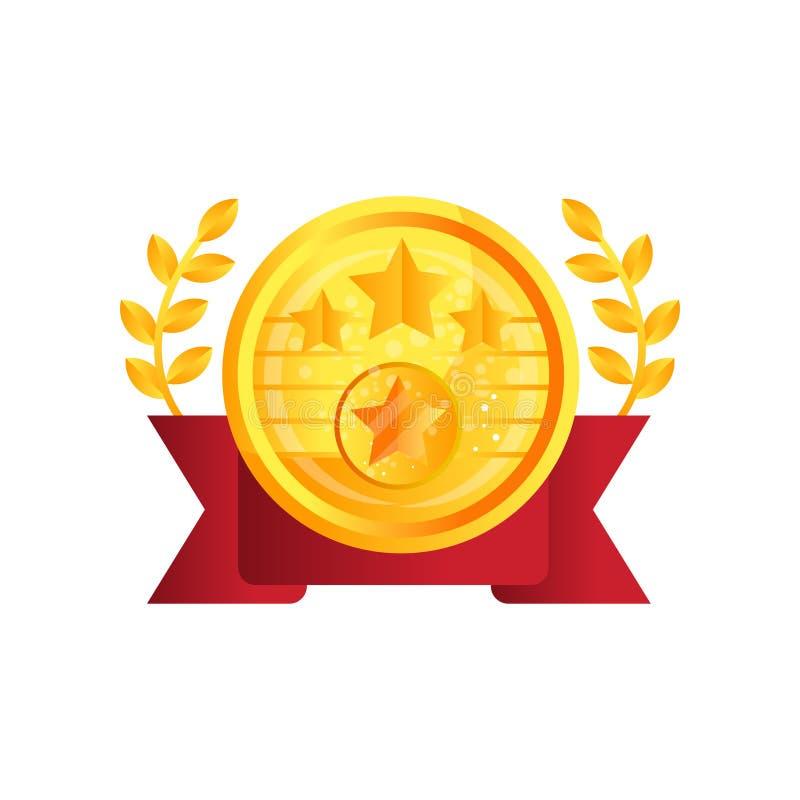 El premio de la medalla de oro con la cinta roja y el laurel vector el ejemplo en un fondo blanco libre illustration